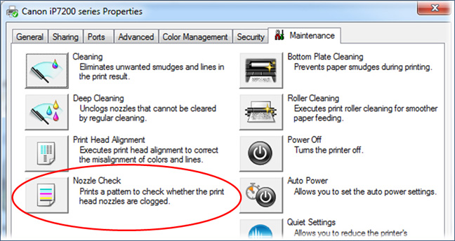 Nozzle Check_Windows prompt_with circle